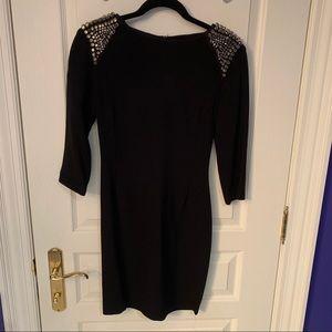 Zara black dress with studded shoulders